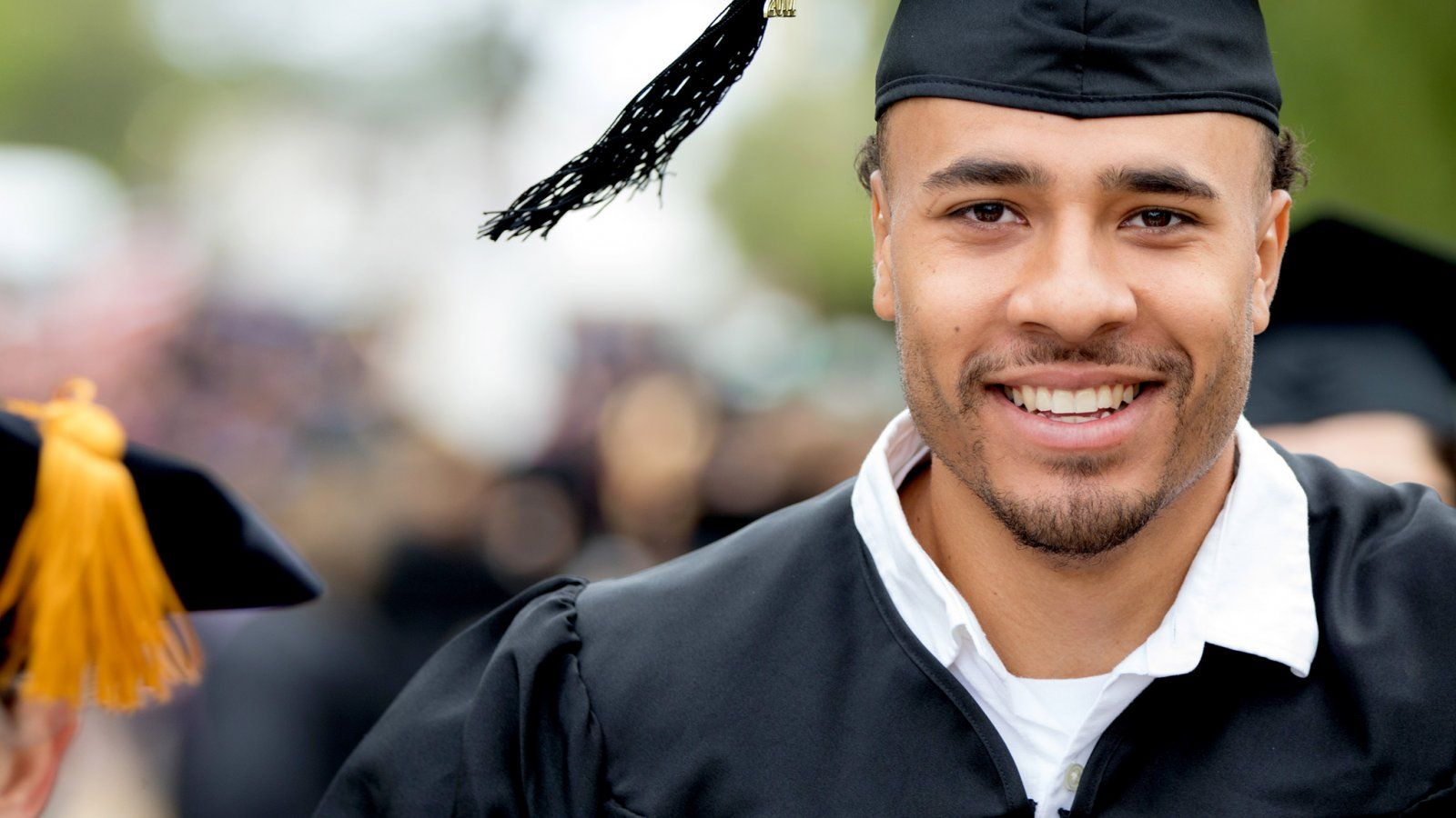 Male Graduate waiting to enter the Greek for the Commencement Convocation
