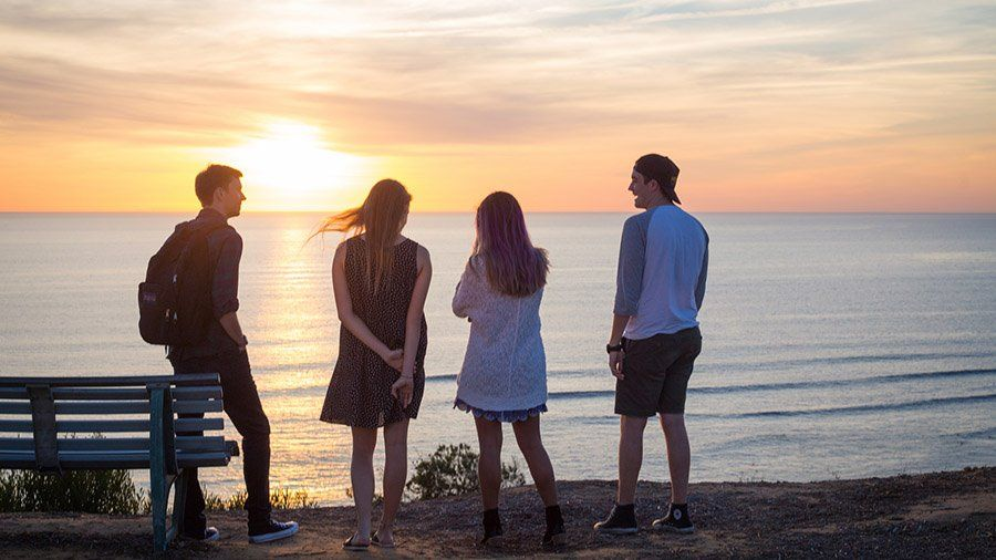 A group of friends watch the sunset over the ocean.
