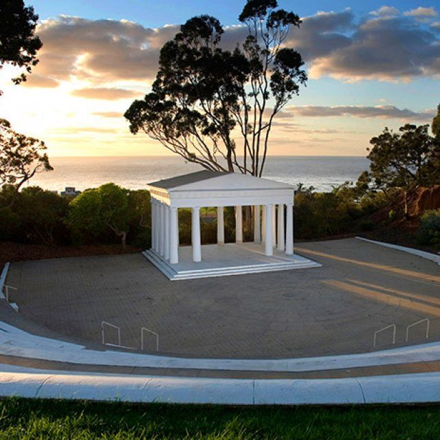 The oldest greek amphitheater in the western hemisphere during early sunset at Point Loma Nazarene University in San Diego, California